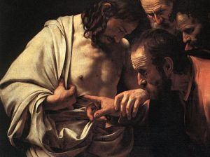 """Caravaggio's painting """"The Incredulity of St. Thomas,"""" 1601-1602"""