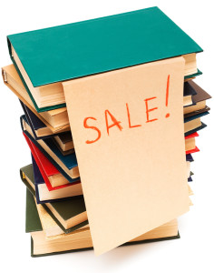 sale of old books on white background