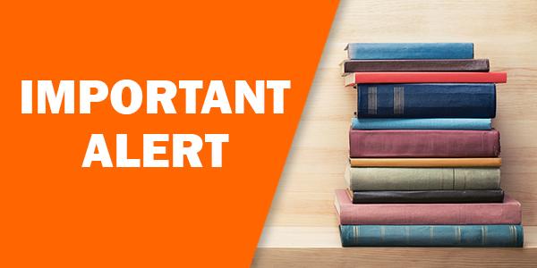 alert, service alter, important alert, books