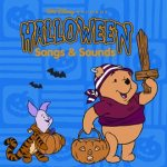 Halloween Songs & Sounds, Piglet in a Tigger costume holding a pumpkin, Pooh in a pirate costume