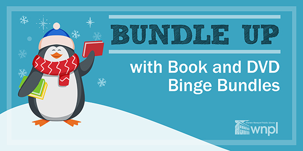 Bundle Up with Book and DVD Binge Bundles , penguin bundled up on snowy hill