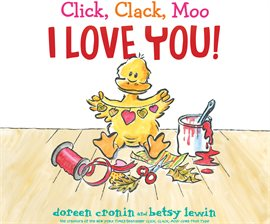 Yellow duck creating valentine's crafts