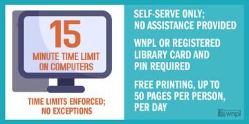 computer use, 15 minute limit, no assistance, self serve