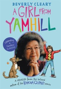 Beverly cleary with ramona and a brown dog on each side of her
