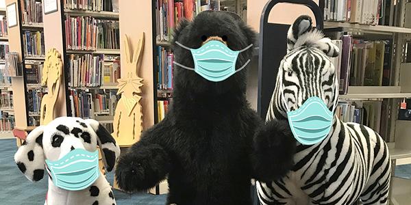 stuffed animals, bear, dalmatian, zebra, wearing masks, masks,