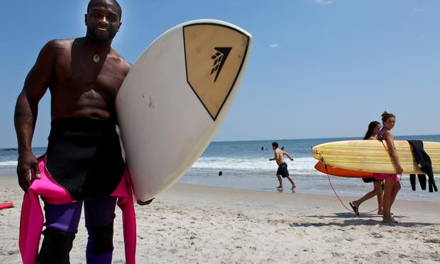 Louis Harris, a local Rockaway surfer who's trying to get more young local in the water and surfing.
