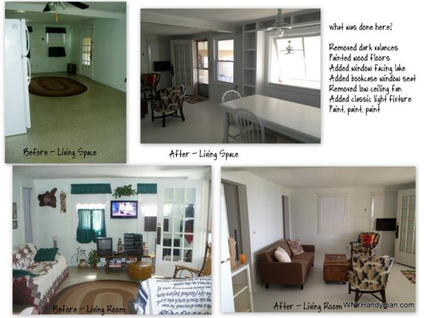 cottage living room before after
