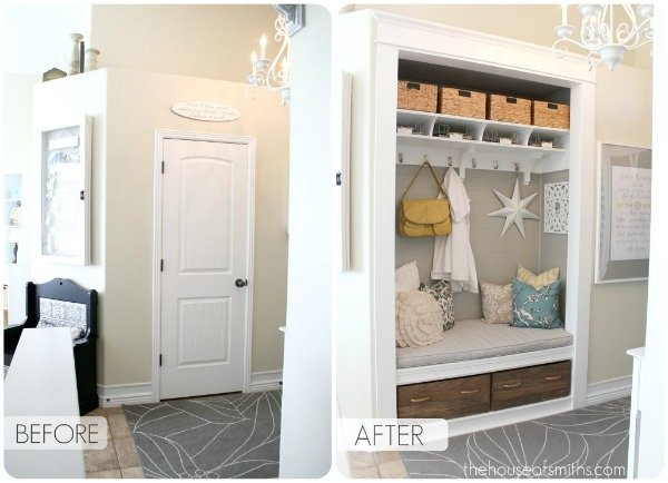 Hall Closet Conversion To An Entry Bench With Storage