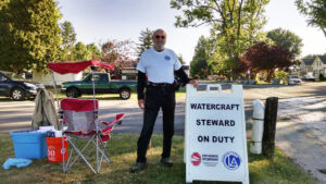 Watercraft Steward on duty at Chautauqua Lake in 2016. Photo Credit: Chautauqua Lake Association