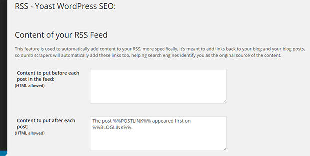 rss wordpress seo