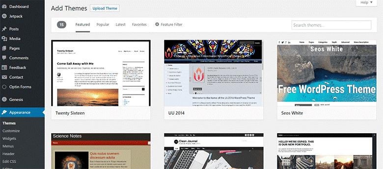 start a blog add theme