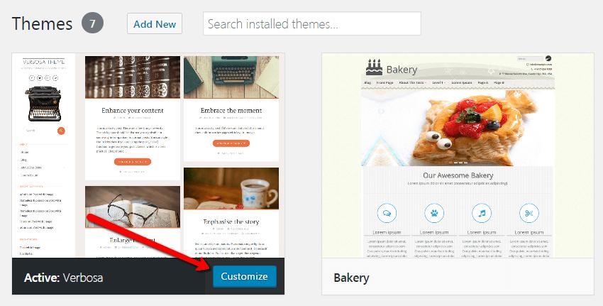 start a blog Theme customize