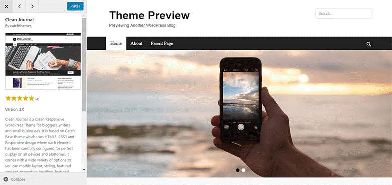 start a blog theme preview