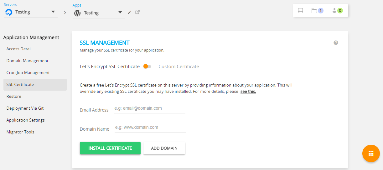 Cloudways SSL Management