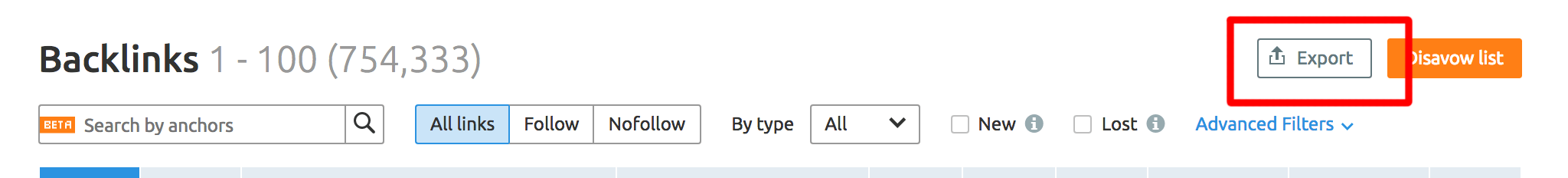 SEMrush backlinks report export option