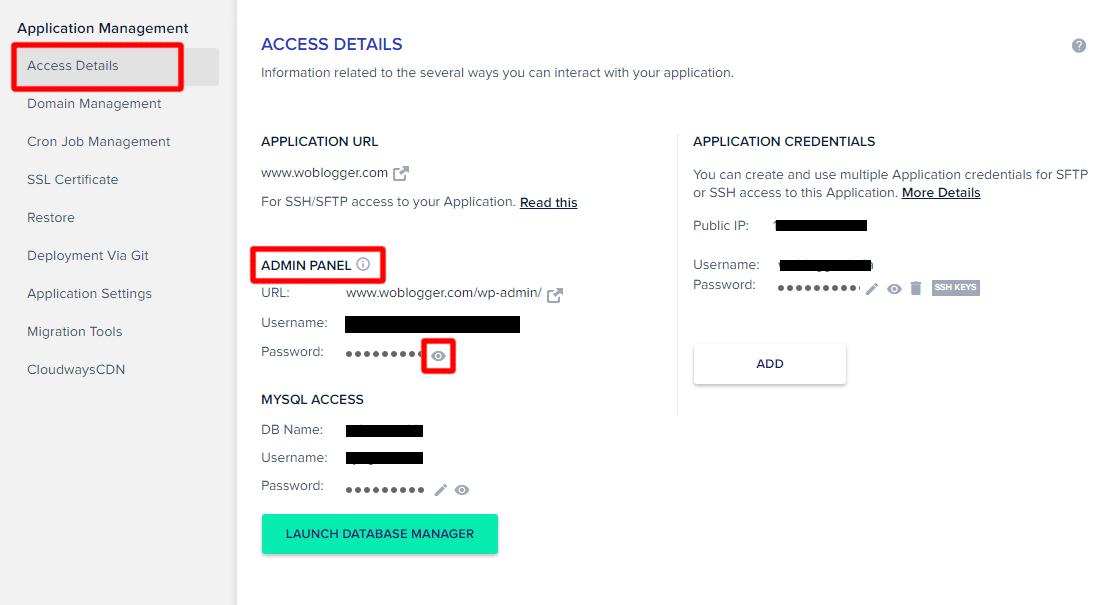 15. access details