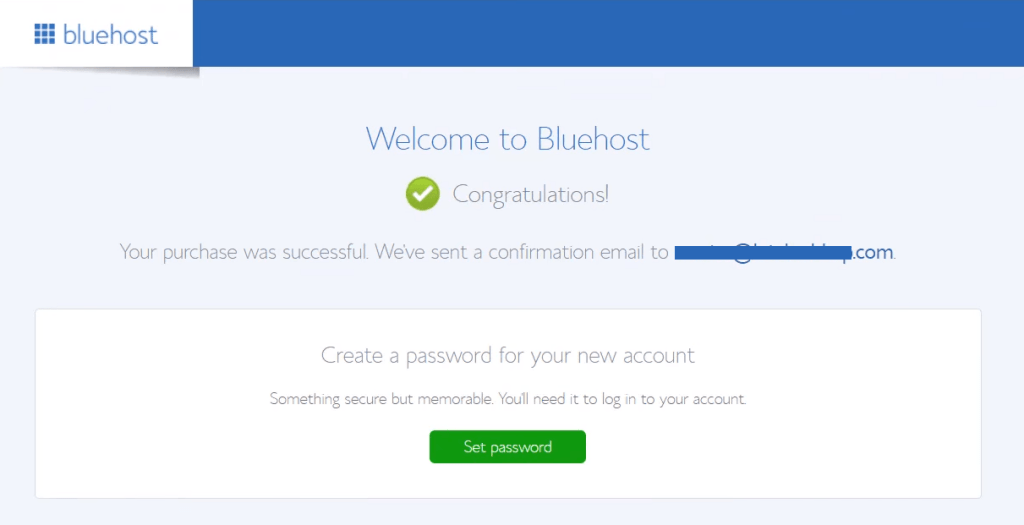 bluehost create a new password