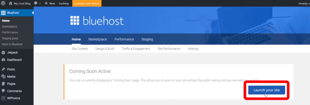 bluehost wordpress dashboard coming soon