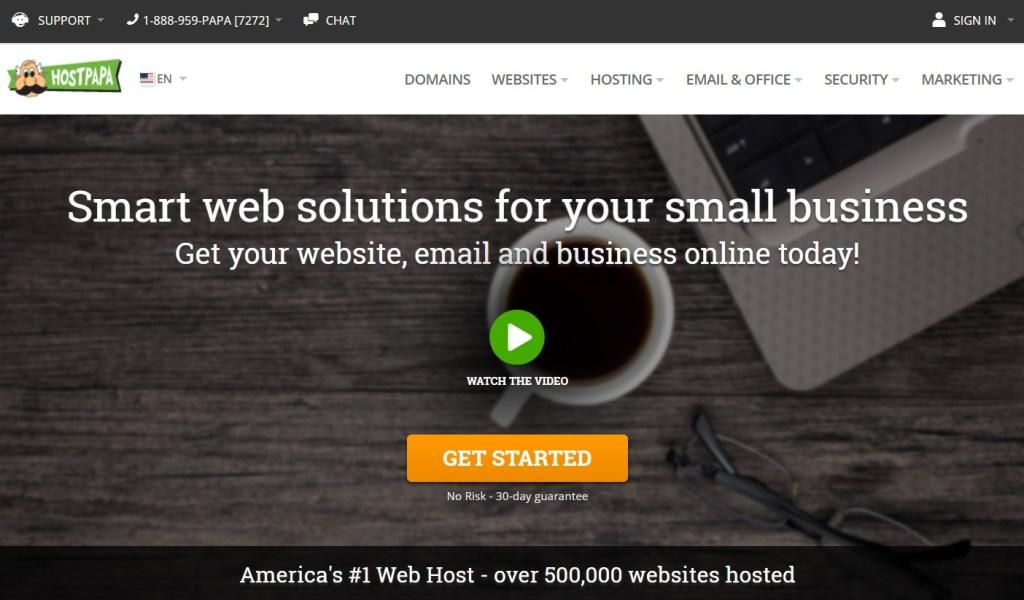 HostPapa home page above the fold