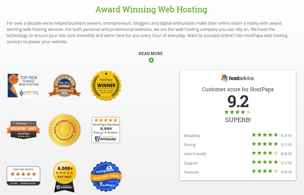 HostPapa award wining web hosting