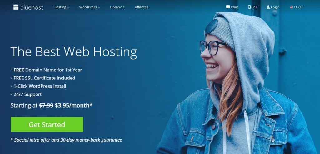 bluehost review homepage