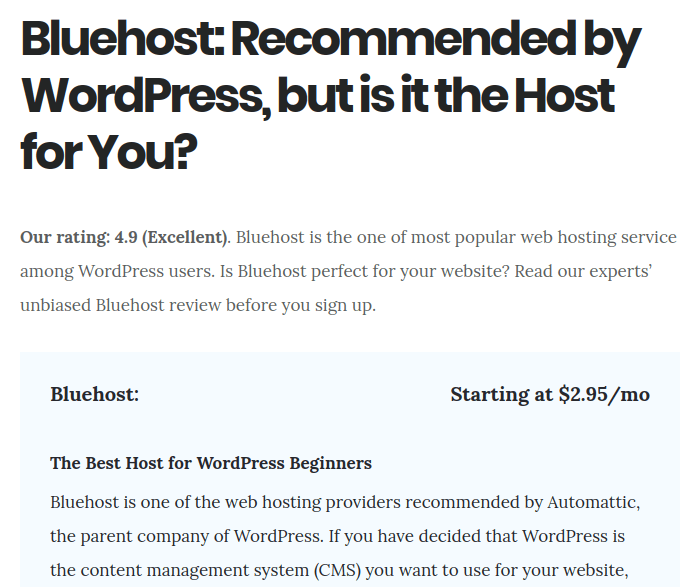 bluehost review woblogger