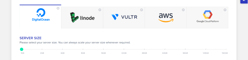 Select your provider and server size
