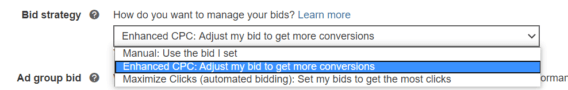 bid strategy in bing ads