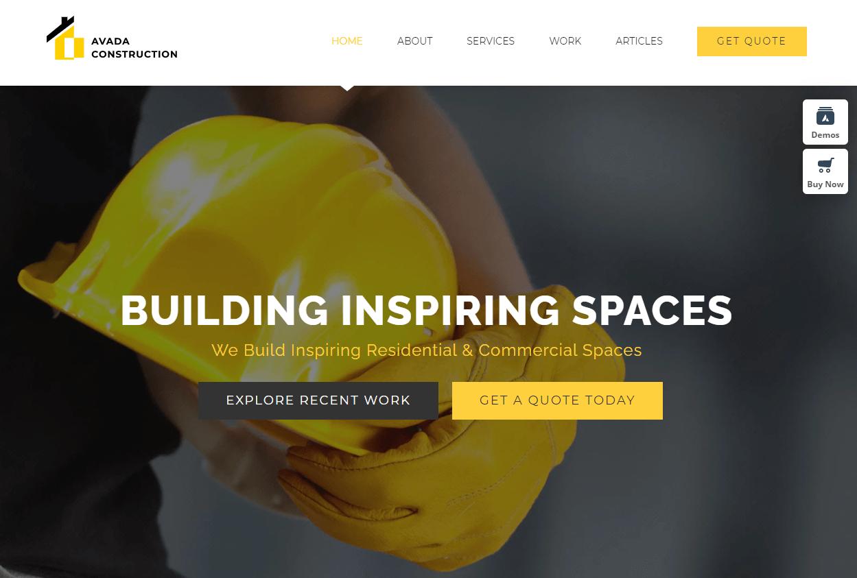 The Avada construction WordPress theme