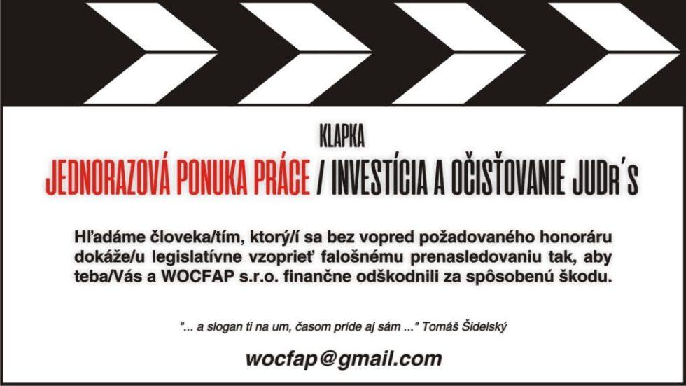Dve Prešovské vrany vs WOCFAP s.r.o. - ponuka práce