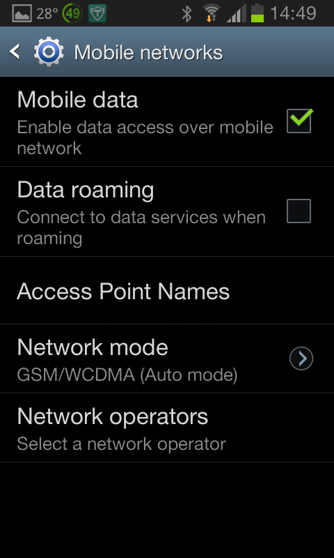 Mobile networks screen
