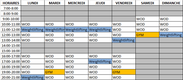planning cours crossfit