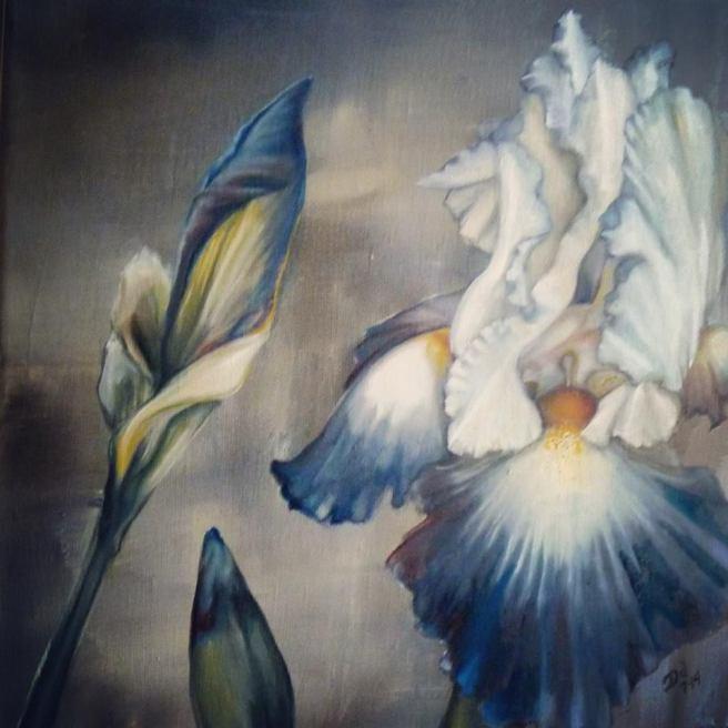 "THREE IRIS | 2014 | oil on canvas, 12"" x 12"""