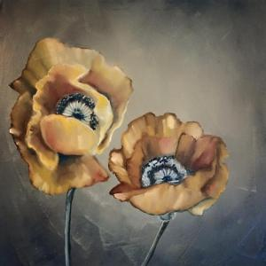 Work in progress: oil painting of poppies (first session), March 2016