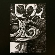 "ARCANE | 2010 | pen and ink art card, 2.5"" x 3.5"""