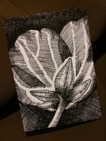 "BLOSSOM | 2015 | pen and ink art card, 2.5"" x 3.5"""
