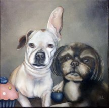 CUPCAKE AND BO (commissioned portrait) | 2016, oil on canvas
