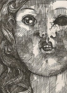 "DOLLFACE | 2010 | pen and ink art card, 2.5"" x 3.5"""
