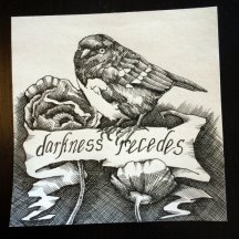 "DARKNESS RECEDES | 2016 | pen and ink on artist tile, 6"" x 6"""