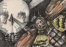 "NARCICISSM | 2010 | pen and ink art card, 3.5"" x 2.5"""