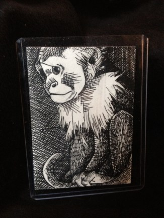 "MONKEY 1 | 2013 | pen and ink art card, 2.5"" x 3.5"""