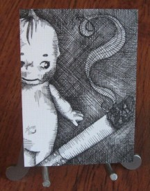 "TEMPTATION | 2009 | pen and ink art card, 2.5"" x 3.5"""