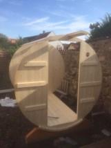 Sauna-Fass Aufbau