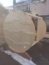 Sauna Fass aufbauen