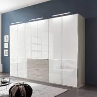 300 cm Kleiderschrank mit Glas in Weiß & Grau   6 türig ...