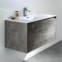 Bad Waschtisch mit Wandspiegel inkl LED Beleuchtung ...