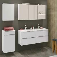 Badmöbel Set mit 2 Waschbecken in Weiß   Livendas I 4 teilig