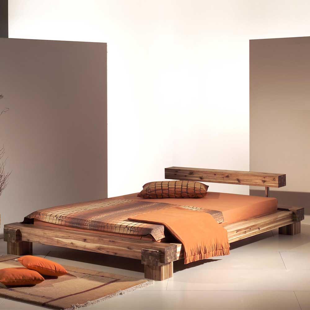 Bett Termi Aus Akazie Massivholz In Balken Optik Wohnende