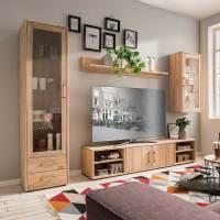 Moderne Wohnwand aus Holz Eiche Bianco 270cm breit ...