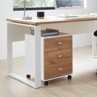Schreibtisch Rollcontainer in Weiß & Eiche mit drei ...